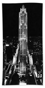 Rca Building At Night In Nyc Beach Towel