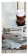 Reading In New Delhi Beach Towel