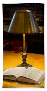 Reading Lamp And Book Beach Towel