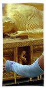 Reclining Buddha Prayer Candles Beach Towel