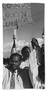 Recognize Martin Luther King Day Rally Tucson Arizona 1991 Black And White Beach Towel