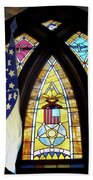 Recollection Union Soldier Stained Glass Window Digital Art Beach Towel
