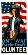 Recruiting Poster - Ww1 - Don't Wait For The Draft Beach Towel