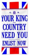 Recruiting Poster - Britain - King And Country Beach Towel