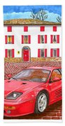 Enzo Ferrari S Garage With 1995 Ferrari 512m Beach Towel