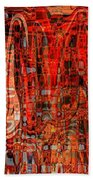 Red Abstract Panel Beach Towel by Carol Groenen