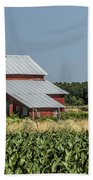 Red Amish Barn And Corn Fields Beach Towel