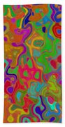 Red And Gold Abstract Beach Towel