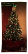 Red And Gold Christmas Tree With Caption Beach Towel