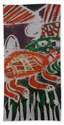 Red And Green Tortoise On Their Way To Bush Beach Towel