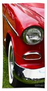 Red And White 50's Chevy Beach Sheet