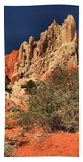 Red And White Desert Towers Beach Towel