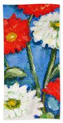 Red And White Flowers With A Blue Sky Beach Towel