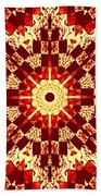 Red And White Patchwork Art Beach Towel