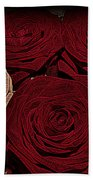 Red And White Roses Color Engraved Beach Towel