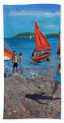 Red And White Sails Beach Towel by Andrew Macara