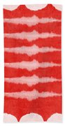 Red And White Shibori Design Beach Towel by Linda Woods