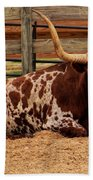 Red And White Texas Longhorn Beach Towel