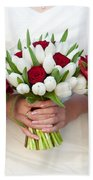 Red And White Tulip And Rose Wedding Bouquets Beach Towel