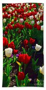 Red And White Tulip Art Beach Towel