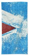 Red Arrow Painted On Blue Wall Beach Towel