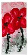 Red Asian Poppies Beach Sheet