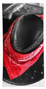 Red Bandana And Cowboy Hat Beach Towel