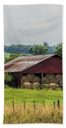 Red Barn And Bales Of Hay Beach Towel