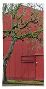 Red Barn And Green Tree In Dundee Hills Oregon Wine Country Beach Towel