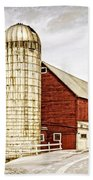 Red Barn And Silo Vermont Beach Sheet