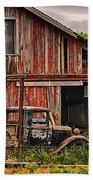 Red Barn And Truck In The Palouse Beach Towel