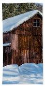 Red Barn In Winter Beach Towel