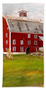 Red Barn In Woodstock Vermont- Red Barn Art Beach Towel