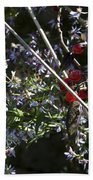 Red Berries And Violet Flowers Beach Towel