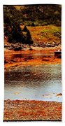 Red Boat At Low Tide Triptych Beach Towel