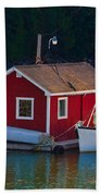 Red Boat House Beach Towel