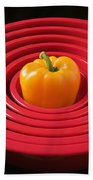 Red Bowls And Pepper Beach Towel
