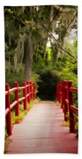 Red Bridge In Southern Plantation Beach Towel