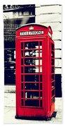 Red British Telephone Booth Beach Towel