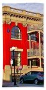 Red Building On Water Street In Saint John's-nl Beach Towel