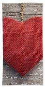 Red Burlap Heart On Vintage Table Beach Towel