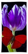 Red Butterfly And Purple Tulip Beach Towel