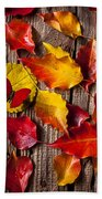 Red Butterfly In Autumn Leaves Beach Towel