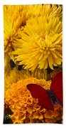 Red Butterfly On African Marigold Beach Towel