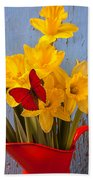 Red Butterfly On Daffodils Beach Towel