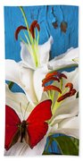 Red Butterfly On White Tiger Lily Beach Towel