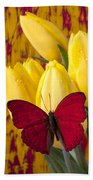 Red Butterfly Resting On Tulips Beach Towel