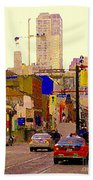 Red Cab On Gerrard Chinatown Morning Toronto City Scape Paintings Canadian Urban Art Carole Spandau Beach Towel