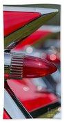 Red Cadillac Fins Beach Sheet