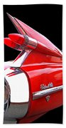 Red Cadillac Sedan De Ville 1959 Tail Fins Beach Towel